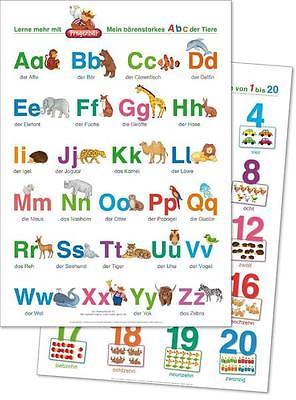 2 Fragenbär-Lernposter: Mein bärenstarkes ABC der Tiere + Zahlen und Mengen von