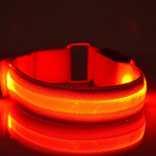 Namsan Wasserdichte LED-Licht Armband sicher Walking / Laufen Flashing Schweißband, Nacht Radfahren Jogging Reflektierende Armband verstellbaren Visible Outdoor-Enthusiasten Beleuchtung Hip-Hop Performance Props,Rot(2pcs)