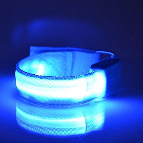 Namsan LED-Licht Armband sicher Walking / Laufen Flashing Schweißband, Nacht Radfahren Jogging Reflektierende Armband verstellbaren Visible Outdoor-Enthusiasten Beleuchtung Hip-Hop Performance Props,Blau
