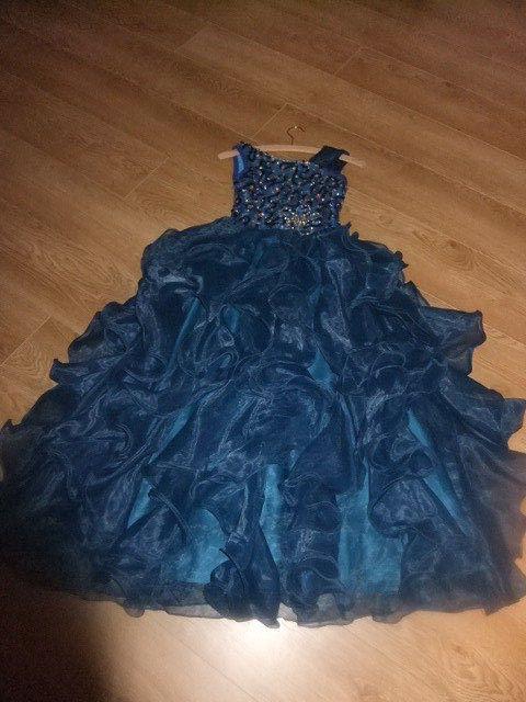 Fasching Kostüm Ballkleid Kleid Blau Eiskönigin Prinzessin Cinderella 146 152