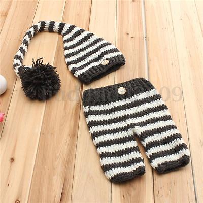 Baby Neugeborenen Fotoshooting Newborn Strick Kostüm Gestrickt Mütze Hose Hut