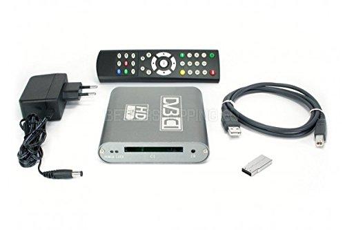 DVBSky T680C V2 USB Box mit 1x DVB-T2 / DVB-C Tuner und CI Common Interface Slot für PayTV, keine CD stattdessen partitionierter USB Stick mit Windows Software inklusive bootfähigem Linux Media Center