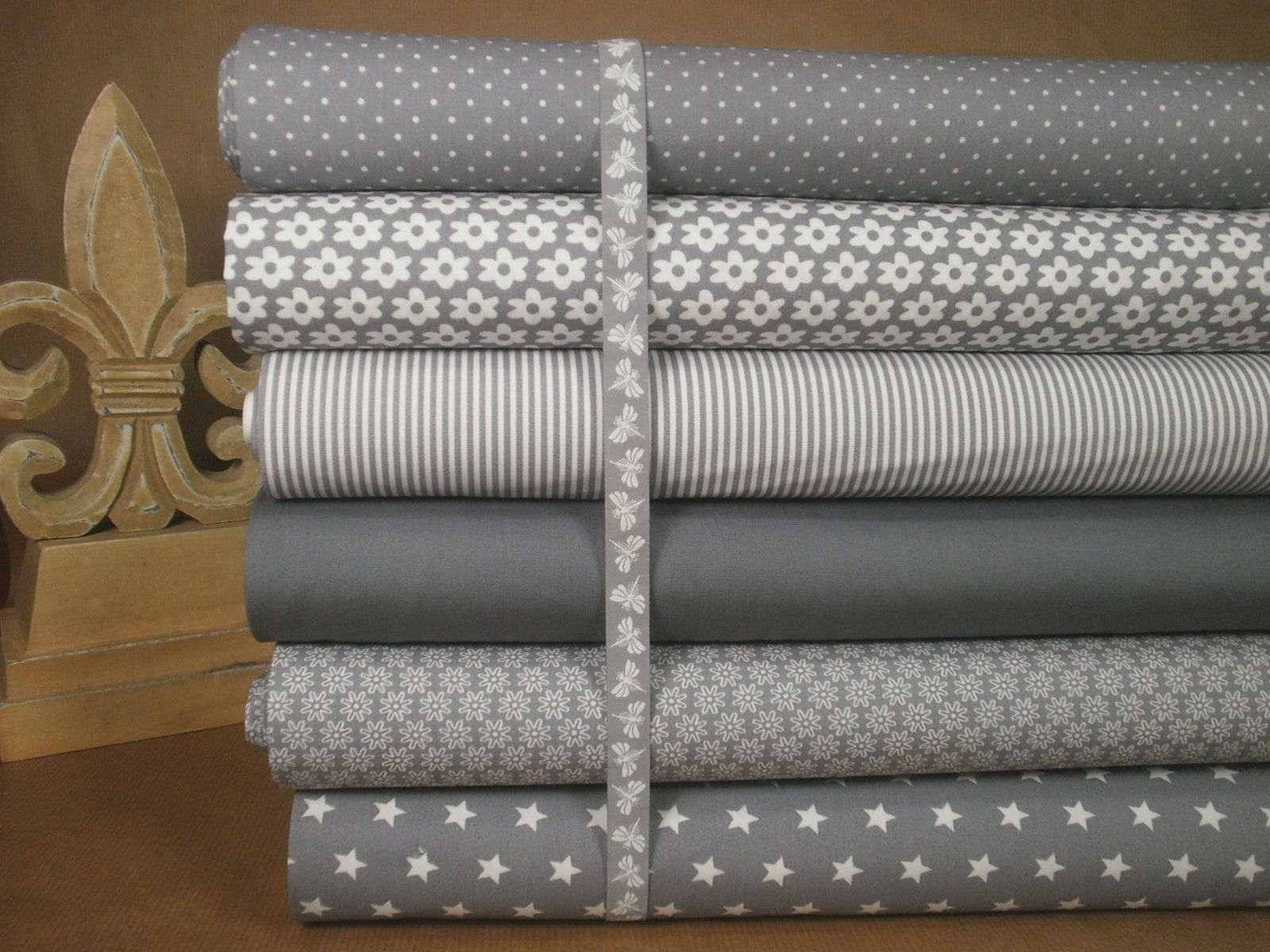 Stoffpaket Landhaus 6x30x70cm + Band Baumwolle Stoffe grau shabby Libelle Sterne