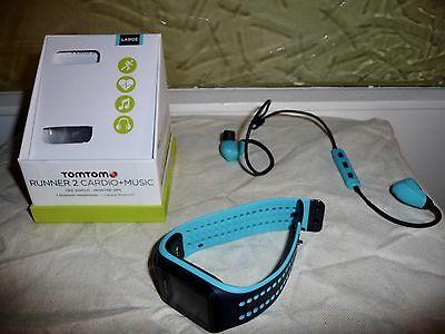 TomTom Runner 2 Cardio + Music Gr. L  GPS Uhr inkl. Bluetooth Kopfhörer wie neu