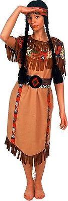 Squaw 3 teilig Indianer Kostüm Indianerin Kleid Fasching Indianerin Perücke