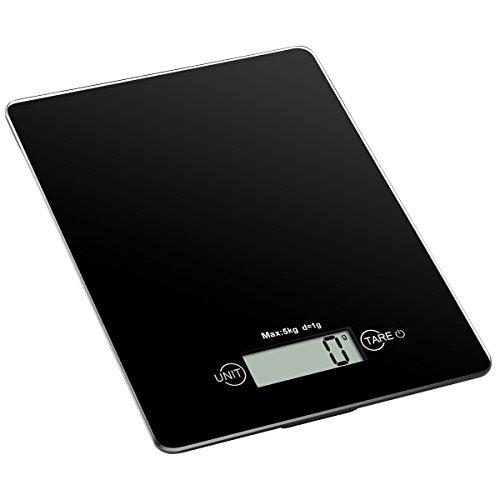 Amir Digitale Küchenwaage, Digitalwaage , Professionelle Waage, Briefwaage 5kg High Precision Touch-Sensitive, Ausgeglichenes Glas, Schwarz