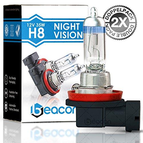 Beacon H8 Night Vision Scheinwerferlampe - Höchste Sicherheit bei Nebel, Regen, Schnee und nasser Fahrbahn - Passt in alle PKW mit H8 Lampen PGJ19-1 Sockel (12V 35W) für Nebelscheinwerfer inkl. Straßenzulassung im eco-freundlichen Doppelpack (2 Stück H8 G