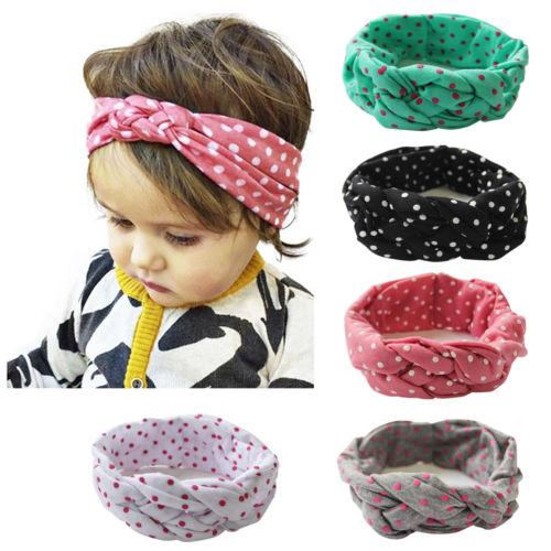 Haarband Baby Mädchen elastisch Knoten Stirnband Baby Haarschmuck Polka Dots