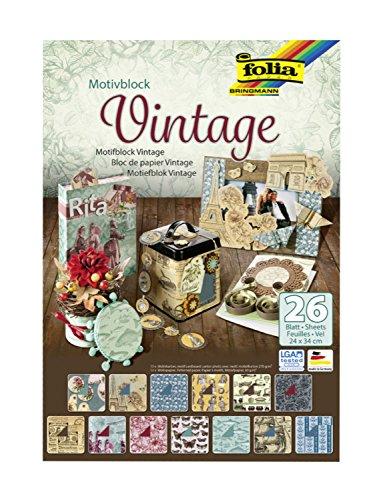 Folia 47549 - Motivblock Vintage, 24 x 34 cm, 26 Blatt sortiert