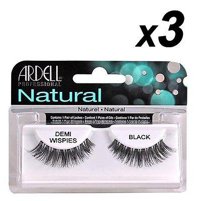 3 x Ardell Naturals Wimpern Falsch Faux Lash Kosmetika Demi Wispies Black