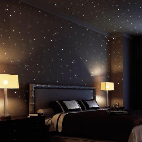 Wandtattoo Loft® Sternenhimmel 350 fluoreszierende Leuchtpunkte und Leuchtsterne - selbstklebend - (150 leuchtende Sterne + 200 leuchtende Punkte) - Wandsticker mit langer Leuchtkraft, ideal für Kinderzimmer und Schlafzimmer!