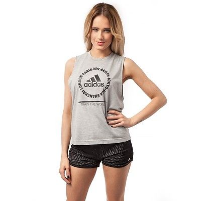 New Adidas Vest Top Sleeveless T-Shirt - Grey, Ladies Womens Workout Gym Fitness