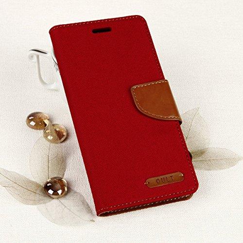 EGO® Bookstyle Handy Tasche mit praktischer Aufstellfuntkion für Samsung Galaxy A3 A310 (2016) Rot Flip Case Magnetverschluss Book Cover mit Kartenfach Wallet Stand Schutz Hülle Canvas