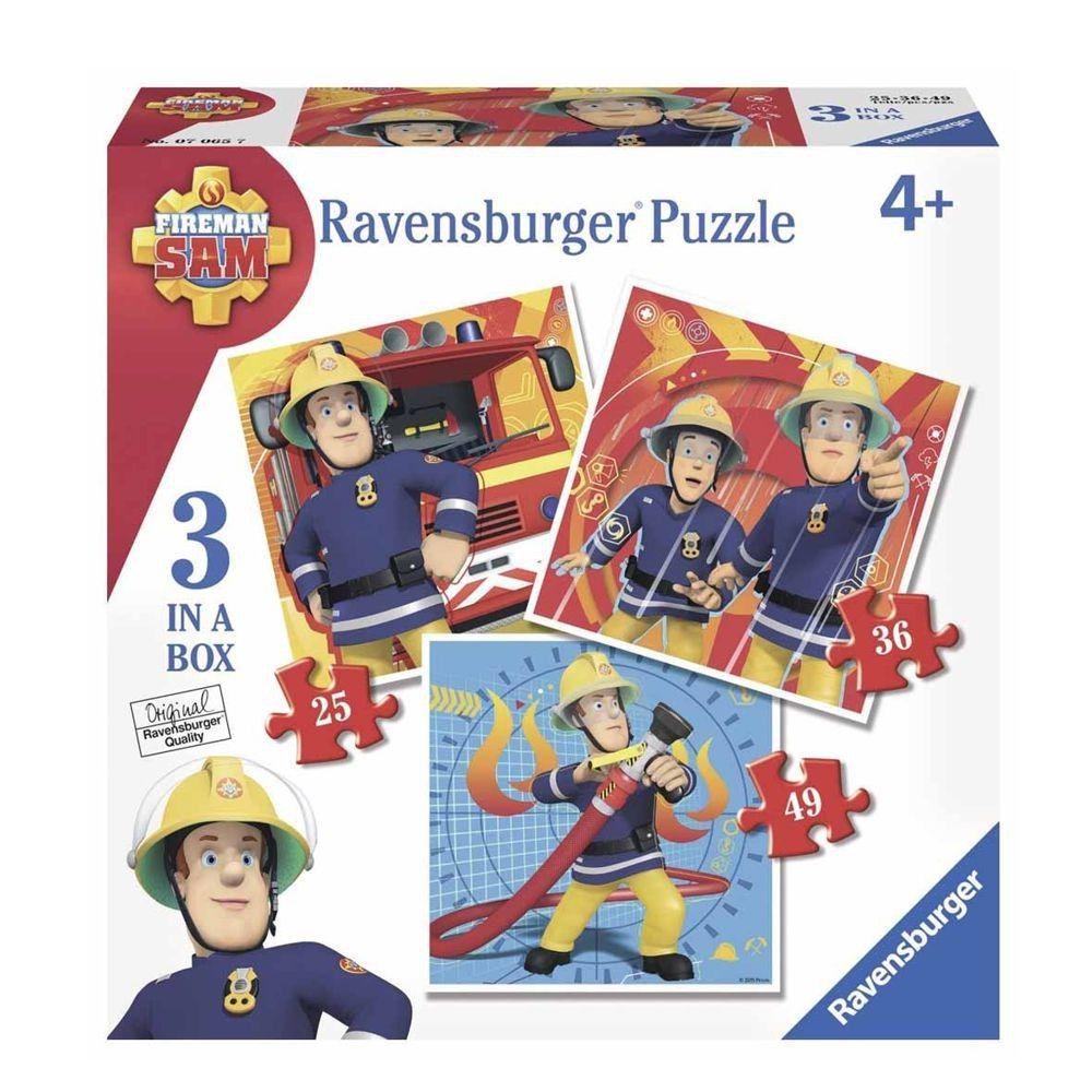 Feuerwehrmann Sam - Kinder Puzzle Box Legespiel 3 in 1 (25, 36, 49 Teile)