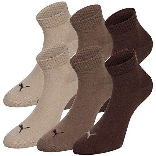 PUMA Unisex Quarters Socken Sportsocken 6er Pack chocolate / walnut / safari 717 - 35/38