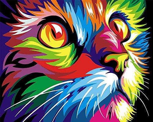[ Holzrahmen oder nicht] Malen nach Zahlen Neuerscheinungen Neuheiten - DIY Gemälde durch Zahlen, Malen nach Zahlen Kits - colorful cat, 16 * 20 Zoll - digitales Ölgemälde Segeltuch Wand Kunst Grafik für Heim Wohnzimmer Büro Decor Decorations Geschenke -