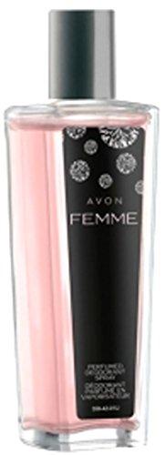 1a AVON 38729 parfümiertes Deodorant-Spray FEMME --- 75 ml --- Parfümiertes Deo Körperspray --- eleganter Glasflakon
