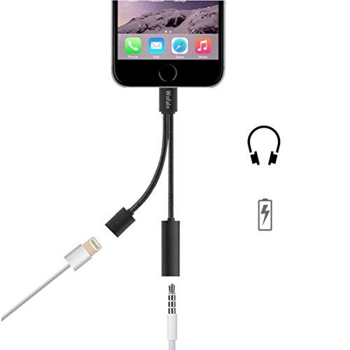 Wofalo Lightning Audio und Ladeadapter für iPhone 7/7 Plus - Audio + aufladen Doppelfunktion - Lightning auf 3,5 mm-Kopfhöreranschluss Adapter für Apple 7/7 Plus - Schwarz