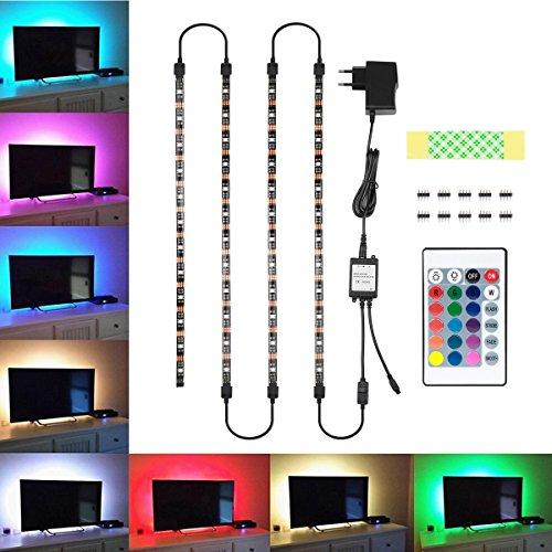 TV Hintergrundbeleuchtung, Blusmart Led Streifen Beleuchtung Wasserdicht 4x40cm und 4x50cm Anschlusskabel mit Fernbedienung 44 Tasten und Netzteil 12V 2A für TV Monitor PC Laptop