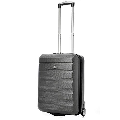 Aerolite Ryanair Maximales Gewicht Hard Shell Leichtes Handgepäck Reisekoffer 55x40x20 mit 2 Rädern - Auch für Easyjet, British Airways, Jet2 und mehr zugelassen (Kohlegrau)