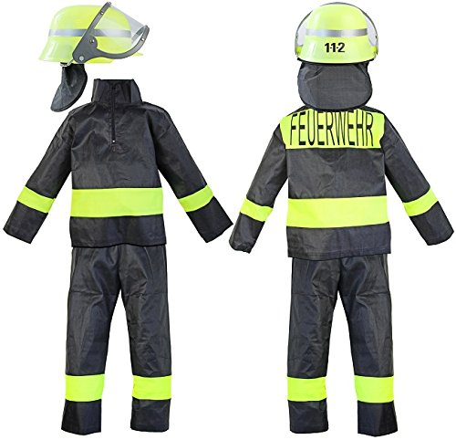 Kinder Feuerwehr Kostüm Feuerwehrhelm Hose Jacke Grösse 4 92-98