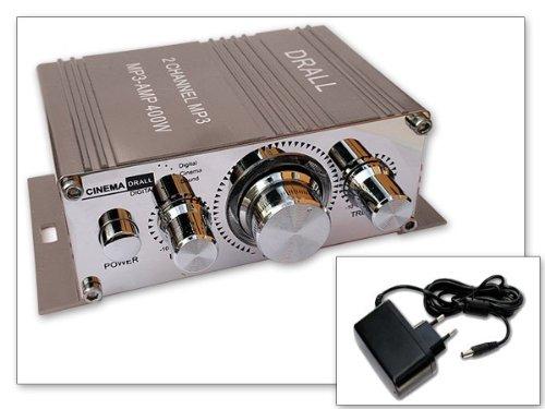 400W Mini-Endstufe Verstärker mit 12V/1,5A Netzteil Hausstrom Netzversorgung GRAU Modell: EN4G-NT6