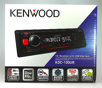 KENWOOD KDC-100UR Autoradio CD-Tunier/AUX/USB/1DIN-Gerät/Rot