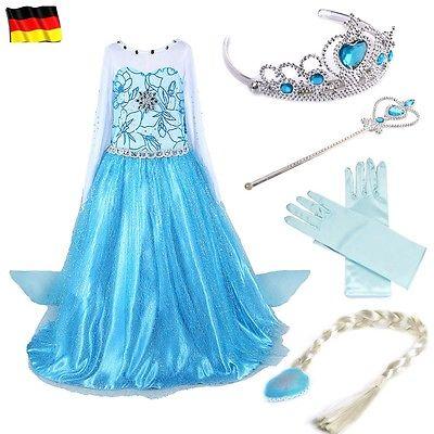 Frozen Eiskönigin Prinzessin Kostüm Kleid Mädchen Weihnachten Verkleidung Karnev