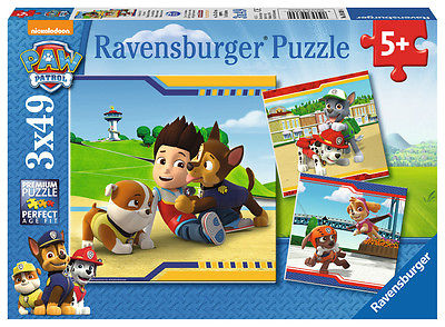 3 x 49 Teile Ravensburger Kinder Puzzle Paw Patrol Helden mit Fell 09369