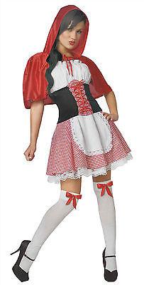 Rotkäppchen Damen Karneval Kostüm Kleid mit Korsett Fasching Märchen S-M-L