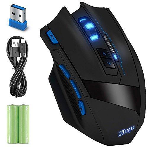 Zelotes F 15 2.4G Wireless Portable Mobile Maus Optische Maus mit USB-Empfänger, 4 einstellbare DPI-Stufen, 9 Tasten für Notebook, PC, Computer, Laptop, Mac, - Schwarz