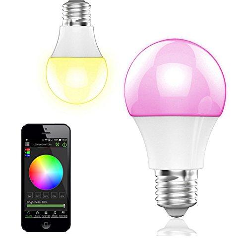 BOHMAIN Magic Dimmbare LED Glühlampe E27 Fassung 350 Lumen RGB Birne mit Bluetooth 4.0 Ambiente Beleuchtung per App Kompatibel mit Touchscreen Smartphones via iOS & Android System für Zuhause, Café, Restaurant, Bars etc.