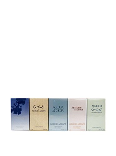 Armani Miniatur Set 5 piece womens variety with armani code & acqua di gio & gio & acqua di gioia & armani mania and all are .3ml-5ml-5ml-4ml-5ml