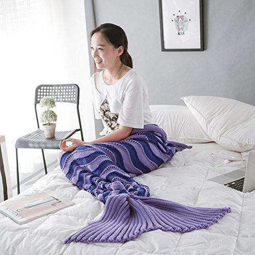 WLM Meerjungfrau Decken,Weiche Strick Meerjungfrau Strickmuster Schlafsack, Handgemachte Mermaid Schwanz Stil Blanket Sofa Schlafdecke für Erwachsene (Lila)