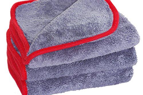 Glart 443TP Premium Flausch 3er Set Mikrofasertücher, ultraweich für perfekte Lackpflege, anthrazit, 40 x 40 cm