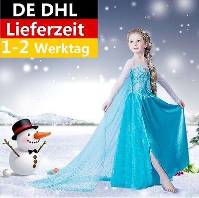 Frozen Mädchen Kostüm Elsa Tüll Kleid Kostüm Cosplay Party Dress Eiskönigin