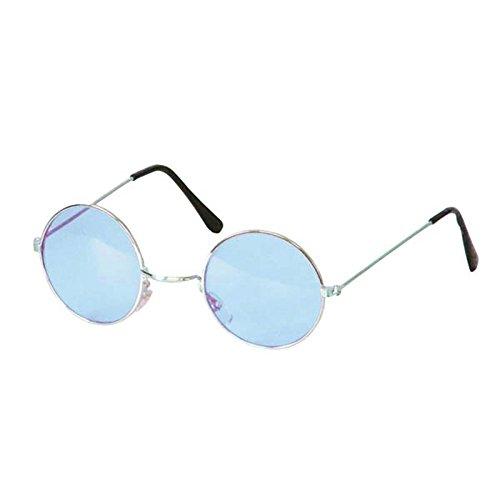 Brille Hippie, runde, blaue Gläser, Metall