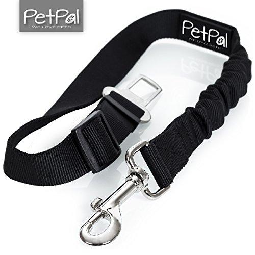 Hunde Sicherheitsgurt von PetPäl für Auto Anschnaller | Premium Hundegurt für Sicherheitsgeschirr | Anschnallgurt für Hunde mit Elastischer, Verstellbarer Ruckdämpfung | Hunde Zubehör Autogurt | Verbindungsgurt aus Robustem Nylon für Höchste Sicherheit |