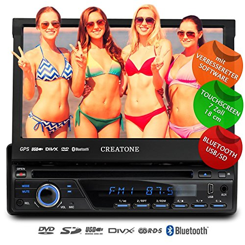 1DIN Autoradio CREATONE CTN-8423D26b mit GPS Navigation, Bluetooth, DVD-Player, Touchscreen und USB/SD-Funktion