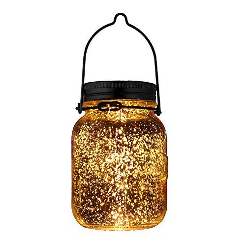 AGPTek SJ LED Solarleuchte 0,2W 1,2V Warmweiß Wasserdichte Stern Einmachglas IPX5 mit Haken, Silber