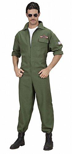 Widmann 89022 - Erwachsenenkostüm Kampfjet Pilot - Overall, Größe M, grün