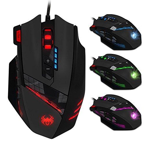ECHTPower Gaming Maus, programmierbar, 12 Tasten, 4000dpi, Marko Funktion, Feuer Tasten, DPI einstellbar, USB Laser LED Pro Gamer Maus Optisch Ergonomisch