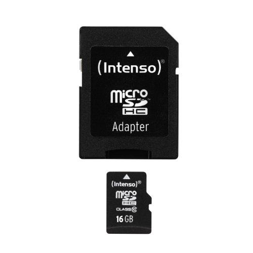 Intenso Micro SDHC 16GB Class 10 Speicherkarte inkl. SD-Adapter schwarz