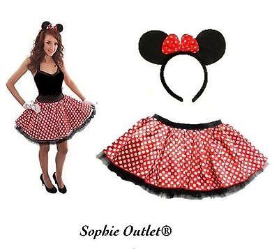 Minnie Mouse TUTU + BOW EARS Headband White Red Polka Dot Skirt Fancy Dress New