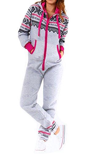Amberclothing Damen Jumpsuit, Aztekisch X-Large Gr. Medium, Silber - Silber