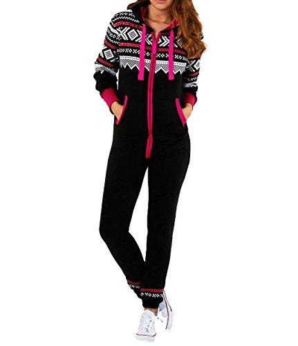 Amberclothing Damen Jumpsuit, Aztekisch Gr. xxl, Schwarz - Schwarz