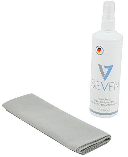 V7 Reinigungs Set 2 teilig für Displays: 250ml Reiniger + Mikrofaser Tuch, geignet für alle Displays:  Monitor, Notebook, Tablet PC, TV, Apple iPad, iPod, iPhone, iMac, Smartphone, Telefon, Projektoren, Display, Bildschirm, Fernseher