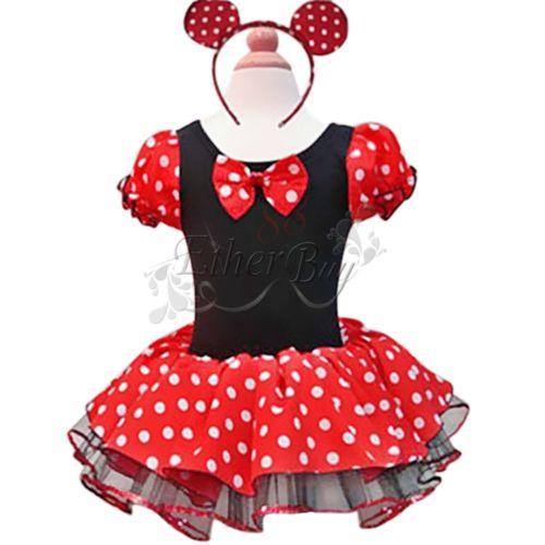 Mädchen Minnie/Mickey Mouse Maus Kostüm Ballettkleid Party Tutu Kleid Gr. 86-140
