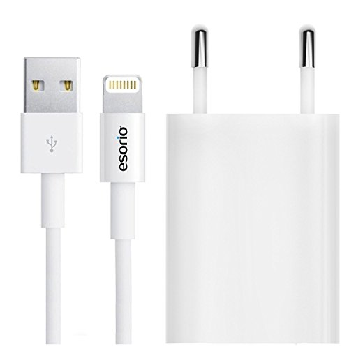 esorio® 2in1 Set Lightning Ladekabel und Netzstecker USB für Apple iPhone 7 6 6S SE iPod in weiss