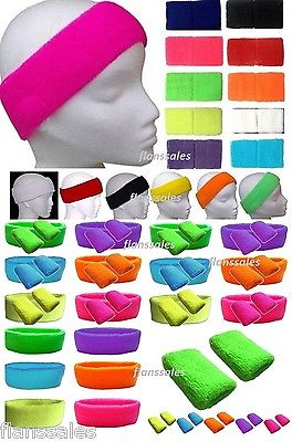Neon Wristbands - Sweatbands Headband &/or Pk 2 Wrist Bands  Neon  Fancy Dress